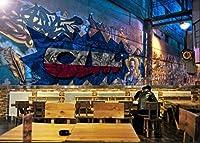 Ljjlm 3D落書きストローク壁紙壁画壁プリントデカールウォールデコ壁紙-400X280Cm