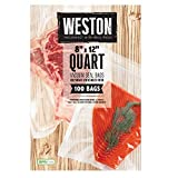 Weston Vacuum Sealer Food Bags, Pint 100 Qty 8x12, Transparent
