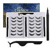 Eyenjoy Magnetic Eyelashes with Eyeliner,Upgraded 3D Magnetic False Eyelashes Kit With Tweezers,No Glue Fake Eyelashes Set With Reusable Lashes 12 Pairs 6 Styles with 3 Magnetic Eyeliners and Tweezer