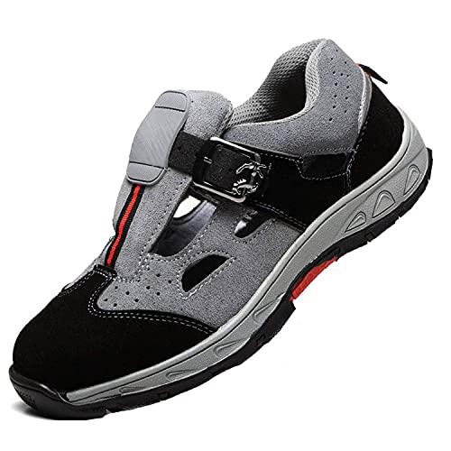 HMAKGG Damen Herren Sicherheitsschuhe S3 Arbeitsschuhe Sandalen Cool Atmungsaktiv Schutzschuhe mit Stahlkappe,Gray,42EU