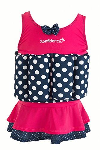 Konfidence Float Suit Schwimmhilfe für Kinder I Kinder-Schwimmweste aus Neopren I Schwimmjacke I Schwimmanzug mit mehr Bewegungsfreiheit wie bei Schwimmflügel, Größe:2-3 Jahre, Design:Pink&Navy Polka