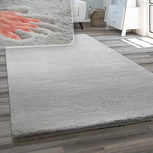 Teppich Wohnzimmer Kunstfell Plüsch Hochflor Shaggy Weich Waschbar, Grösse:80x150 cm, Farbe:Grau