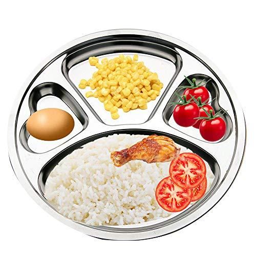 Unterteilte Teller aus Edelstahl von Teerfu:2er-Set Kantinen-Tabletts, ideal für Camping, Kinderessen,oder für den täglichen Gebrauch 29,97cm silber