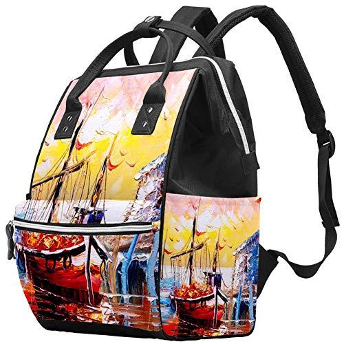 Momia Bolso cambiador Mochila Mar Barco Pintura al óleo Multi-Función Impermeable Bolsa de Pañales Mochila de Viaje para Cuidado del Bebé