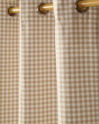 Homescapes handgewobener Vorhang Ösenvorhang Dekoschal Gingham im 2er Set, 117 x 137 cm, 100% Reine Baumwolle, beige weiß kariert