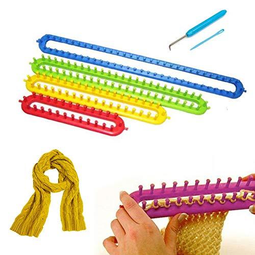 Katech Strickrahmen-Set, 4-teilig Knitting Loom (24cm + 34cm + 44.5cm + 54.5cm) mit Haken und Wolle Nadel, für Anfänger und Strickliebhaber