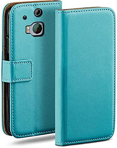 moex Klapphülle für HTC One M8 / M8s Hülle klappbar, Handyhülle mit Kartenfach, 360 Grad Schutzhülle zum klappen, Flip Hülle Book Cover, Vegan Leder Handytasche, Türkis