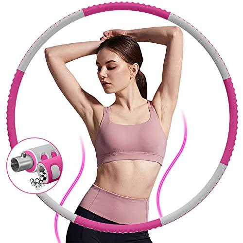 DUTISON Hula Hoop Reifen für Erwachsene, 1,2kg Gewichten Einstellbar Fitness Hoola Hoop zur Gewichtsabnahme, 8 Knotens Stabiler Edelstahlkern mit Premium Schaumstoff Hula-Hoop für Profis und Anfänger