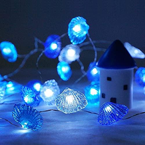ADLOASHLOU Guirnalda Luces, 4M 40 LED Impermeable Cadena de Luces Concha 8 Modos con Control Remoto, Luces Led USB para Decorativas,Navidad, Habitacion, Fiesta, Jardín, Bodas