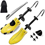 Shoe Stretcher Women Shoe Tree Widener, Pair of 4-way Adjustable Expander Stretch Length Width Height, Tough Plastic & Metal, 8 Bunion Plugs Included, Yellow for Women's Shoes Size US 5.5-10