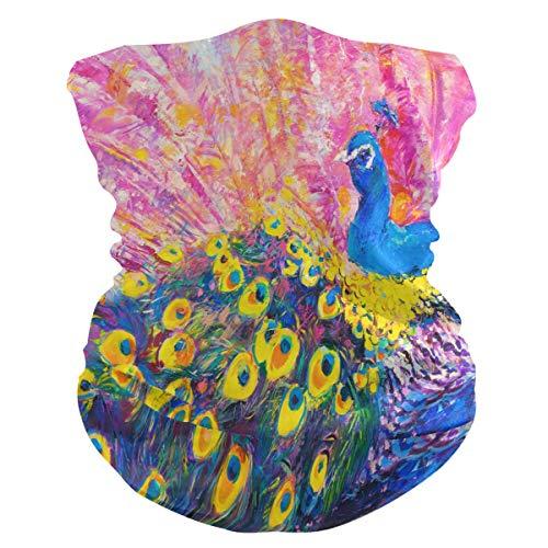 Funnyy - Gorro de plumas de pavo real para el cuello, bufanda, bandana, pasamontañas, cubierta para el polvo, sin costuras, mágico, pañuelo para la cabeza, multifuncional, diadema para deportes al aire libre