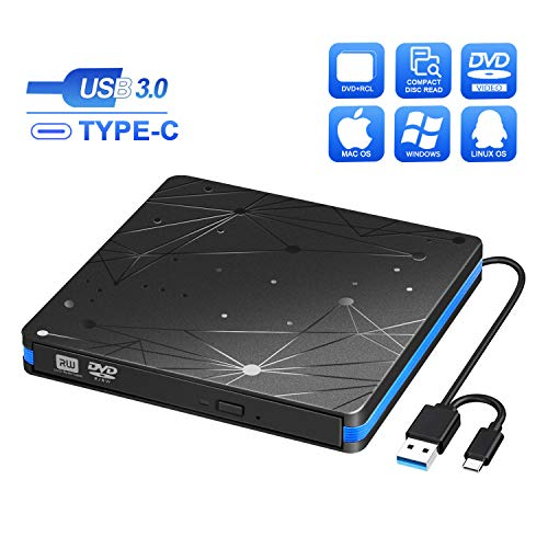 BlueFire Masterizzatore Dvd CD Externo, USB 3.0 Type-C unità Dvd Esterna Lettore Dvd +/- RW Burner Dispositivo Lettore di Schede Portatile per Laptop Desktop PC Windows And Linux OS Apple MacBook PRO