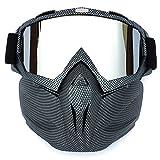HCMAX Lunettes de Moto Masque Facial Détachable Casque Anti-buée Coupe-Vent Verres de Vélo pour Le Dessert...