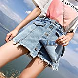 Falda Corta Fake Two Pieces Jeans Skirt Lady Spring Summer Single Breasted Denim Short Skirt Casual Loose Plus...