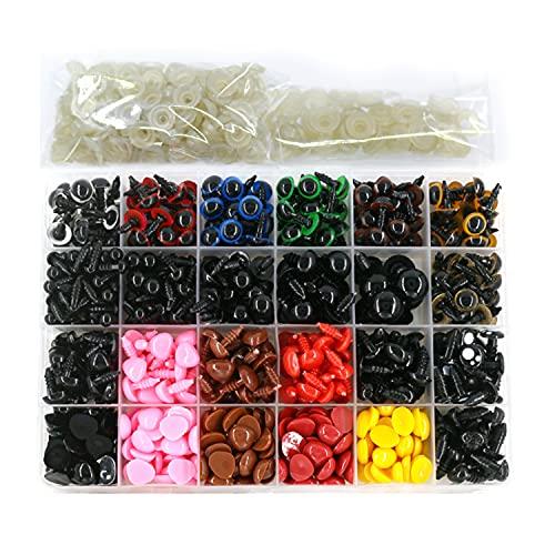 620 Piezas Coloridos Vistoso Ojos de Seguridad Ojos de Plastic y Narices de Seguridad,con 420 Piezas Arandelas para Muñeca de Peluche, Animales Rellenos, Hacer Muñecas,6-14mm (A)