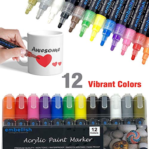 Acrylic Paint Marker Pens, Set of 12 Colors Markers Water Based Paint Pen for Rock Painting, Canvas, DIY Craft, School Project, Glass, Ceramic, Wood, Metal (Medium Tip) Photo #3