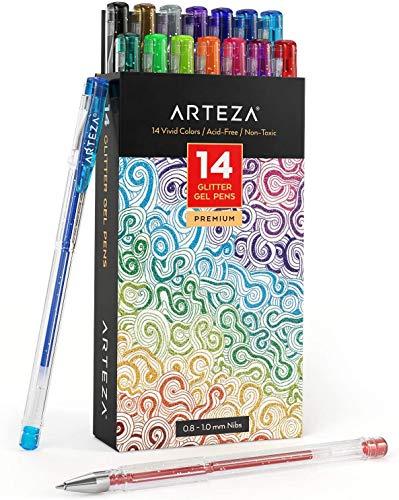 Arteza Bolígrafos de purpurina en tinta de gel | Pack de 14 bolígrafos rotuladores de colores brillantes | Tintas de gel de colores vivos | para pintar mandalas