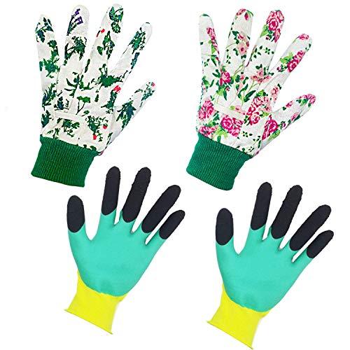 Gartenhandschuhe für Frauen (4 Paar) Damen Haushalt und Garten Handschuh Wasserdicht Blumen Gartenhandschuhe zum Jäten, Graben, Rechen und Beschneiden