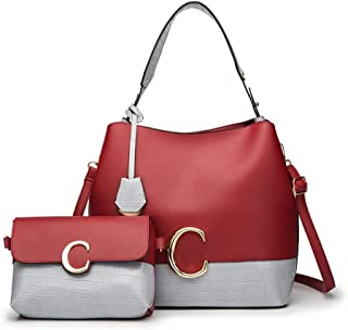 Hit Color Simple Handbag Set Of 2 Versatile Multi Piece Set (Color : E)