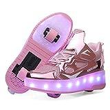 Zapatillas con Ruedas para Niñas y Niño LED Luces Zapatos con Ruedas 7 Colores USB Carga Luminosas Patines Calzado...