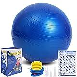 Flintronic Fitness Pelota de Ejercicio, 65cm Fitball, Pilates, Embarazo y Sentarse,Equilibrio, Entrenamiento ( Incluye Caja de Color Manual de Instrucciones,Bomba de Aire),Azul 65cm