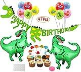 ASYBHYY Decoración de Cumpleaños Dinosaurios 3D Happy Birthday Banner, Globos Helio Gigante con Látex Globos y Toppers de Magdalena de Dinosaurio Set para Niños Niño Feliz Cumpleaños Decoracion