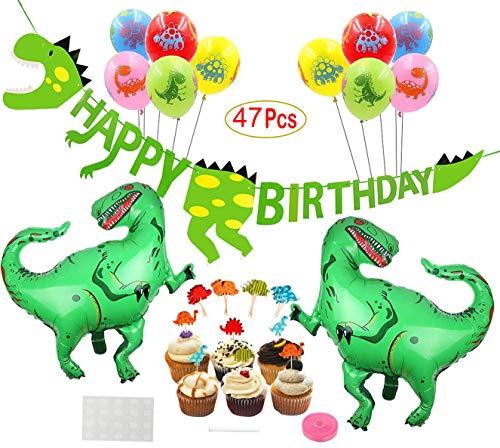 Mattelsen Decoración de Cumpleaños Dinosaurios 3D Happy Birthday Banner, Globos Helio Gigante con Látex Globos y Toppers de Magdalena de Dinosaurio Set para Niños Niño Feliz Cumpleaños Decoracion