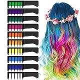 EZCO 10 Color Hair Chalk Comb, Temporary Washable Hair Color Dye Crayon Salon