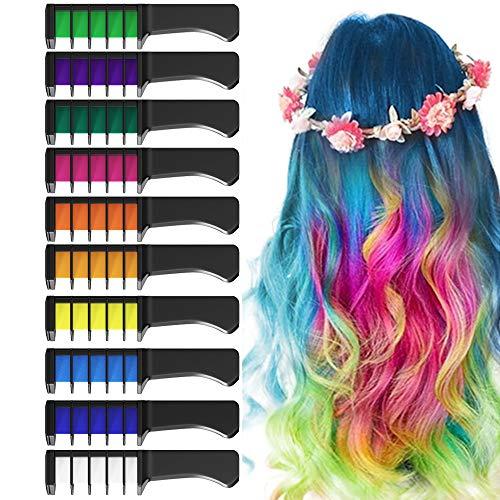 EZCO 10 Color Hair Chalk Comb, Temporary Washable Hair Color Dye Crayon Salon Set Safe for Makeup...