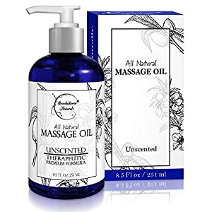 Almond Massage Oil – All Natural, Unscented Spa Quality Formula. Great for Massage Therapy, Body Massage & Therapeutic Massage – with Sweet Almond, Jojoba & Grapeseed Oils – 8.5oz