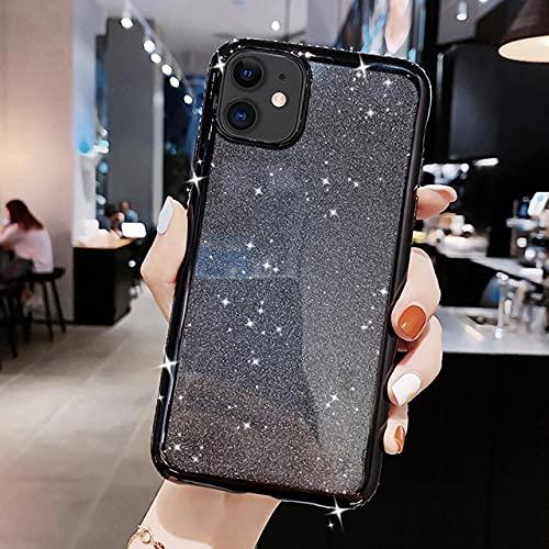 Estuche de Lujo con Purpurina y Diamantes de imitación para iPhone 12 11 Pro X XR XS MAX 6 6S 7 8 Plus Cubierta Trasera de Silicona Suave con Diamantes para teléfono móvil, Negro, para iPhone 11 Pro