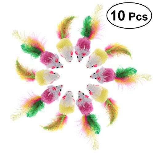 UEETEK 10 PCS Pelz Haustier Spielzeug Mäuse Katze Spielzeug Maus Katze Fänger Spielzeug mit Feder Schwänze (zufällige Farbe)