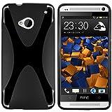 mumbi Hülle kompatibel mit HTC One M7 Handy Hülle Handyhülle, schwarz, x-design schwarz