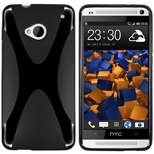mumbi Hülle kompatibel mit HTC One M7 Handy Case Handyhülle, schwarz