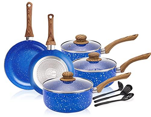 11pcs Cookware Set Ceramic Nonstick Soup Pot/Milk Pot/Frying Pans Set -Blue