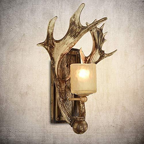DINGYGJ Pared Pared Principal de los Ciervos Rustica 1 lámparas, esculturas de Pared de Resina con Pantalla de Cristal for la Entrada de la Sala de Estar Cocina Island (Bombillas no Incluidas)