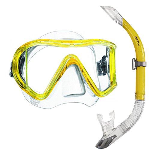 Mares i3 Einglasmaske Tauchermaske + Sailor Ventil-Schnorchel (gelb)