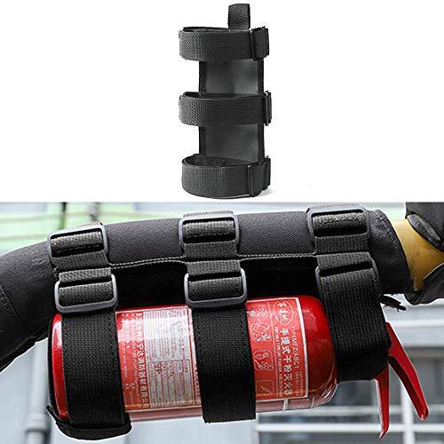 Roll Bar Fire Extinguisher Holder, Adjustable Fire Extinguisher Strap Mount for Jeep Wrangler CJ, YJ, TJ, LJ, JK, JKU, JL, JLU (Black)