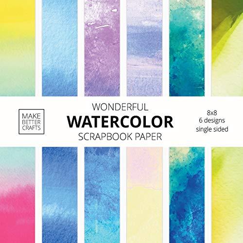 Wonderful Watercolor Scrapbook Paper: 8x8 Designer Patterns for Decorative Art, DIY Projects, Homemade Crafts, Cool Art Ideas
