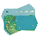 Children's City Map Place Mats Set of 4, Coastal Town Design with Colorful Buildings Roads and Bridge Table Mat Durable Placemats Waterproof Placemat For Kitchen