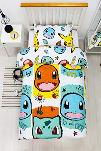Character World Bettbezug für Einzelbett, wendbar, zweiseitig, Motiv: Pikachu, Squirtle & Charmander mit passendem Kissenbezug, Mehrfarbig, 200 x 135 cm (Einzelbett) PKNROCDS002UK1