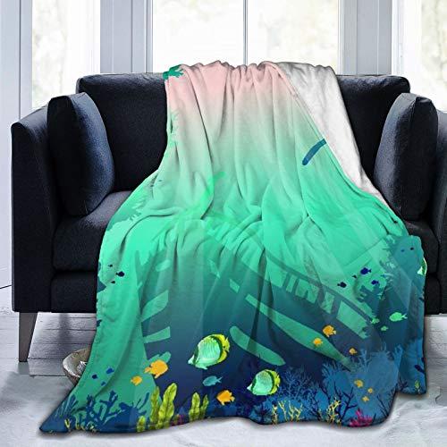 Manta de Tiro Personalizada,Silueta de Buzo,Barco hundido y arrecifes de Coral con Peces en un mar Azul,Manta de Felpa Suave para sofá,Dormitorio,Viaje,Manta mullida 40'X50'