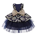 Flower Girls Sequins Bowknot Tutu Dress for Kids Baby Christening Baptism Birthday Party Formal Dress Toddler Princess Pageant Wedding Bridesmaid V-Back Puffy Tulle Dresses Navy Blue 5-6 Years