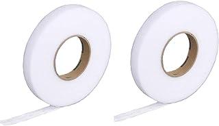 【Za-Bi (ザ-ビ) 】アイロンテープ 両面接着 細幅 約1㎝(64m/巻)白 2本セット/ 洋裁 ほつれ修理 裾上げに、糸も針も不要 とっても便利 / 細幅白2本セット