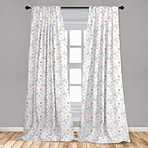 Nursery 2 Panel Curtain Set Cartoon Drawing Style Baby Elephants Teddy Bears Flowers Butterflies Bees Pattern Lightweight Window Treatment Living Room Bedroom Decor 3D HD Picture Printing,White Blue