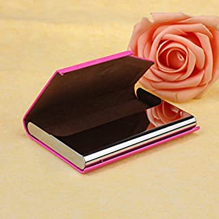 Cafeely Fashion Men Metal PU Leather Box Cover Credit Business Multi Card Case Wallet, Credit Card Holder Protector Stainless Steel Credit Card Wallet,For Work,A