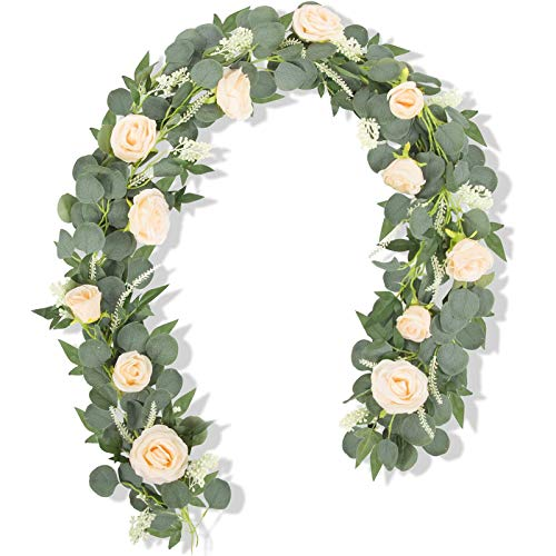 Miracliy 2 PCS 6.5Ft Artificial Flower Garland Seeded Fake Flower Vine Faux Eucalyptus Willow Garland Home Outdoor Wedding Arch Garden Craft Art Décor Champagne