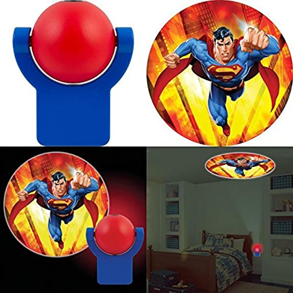 New Set Baby Fall Asleep Fast Crib Bed Collectors Edition Superman LED Light Soft Dream Light Projectable LED Plugin Night Light Bedroom Wall Decor Projector