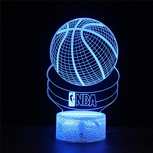 Lámpara de noche 3D para niños de baloncesto NBA 3D ilusión lámpara de 16 colores cambiante lámpara de noche con control remoto, regalo de cumpleaños para niños y adultos