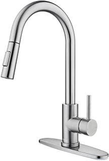 Tohlar Kitchen Sink Faucets with Pull-Down Sprayer, Modern Stainless Steel Single Handle Pull Down Sprayer Faucet with Dec...
